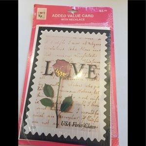 'LOVE' US POST STAMP COLLECTIBLE CARD & NECKLACE
